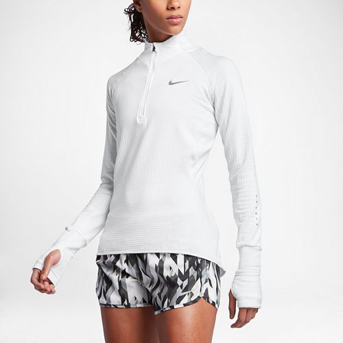 Womens Nike Element Sphere Long Sleeve 1/2 Zip & Hoodies Technical Tops - White/Heather White L