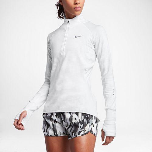 Womens Nike Element Sphere Long Sleeve 1/2 Zip & Hoodies Technical Tops - White/Heather White ...