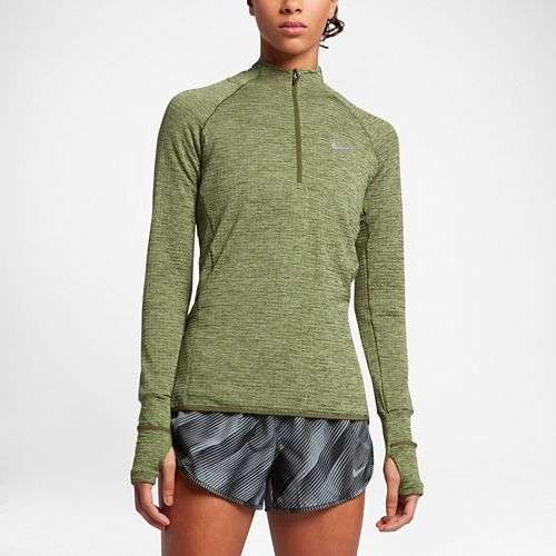 Womens Nike Element Sphere Long Sleeve 1/2 Zip & Hoodies Technical Tops - Legion Green/Heather ...
