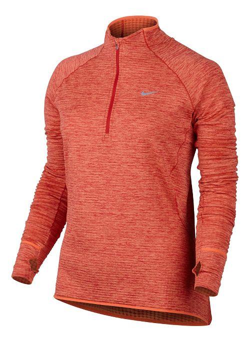 Womens Nike Element Sphere Long Sleeve 1/2 Zip & Hoodies Technical Tops - Turf Orange L