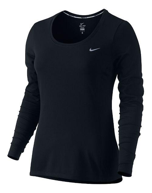 Women's Nike Dri-Fit Contour Long Sleeve No Zip Technical Tops - Black XS