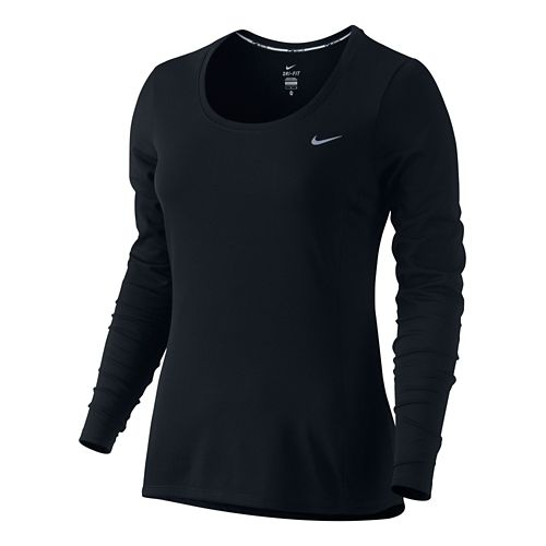 Women's Nike Dri-Fit Contour Long Sleeve No Zip Technical Tops - Black M
