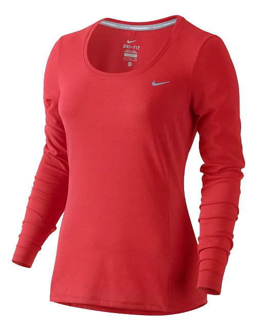 Women's Nike Dri-Fit Contour Long Sleeve No Zip Technical Tops - Light Crimson XL