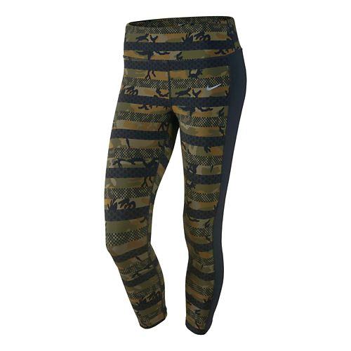 Womens Nike Clash Epic Lux Crop Capri Tights - Militia Green/Black L