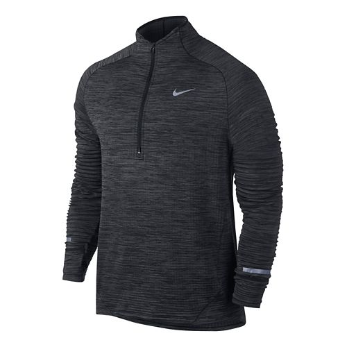 Mens Nike Element Sphere Long Sleeve 1/2 Zip & Hoodies Technical Tops - Black Heather ...