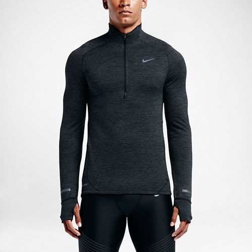 Mens Nike Element Sphere Long Sleeve 1/2 Zip Technical Tops - Black/Anthracite XL