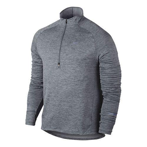 Mens Nike Element Sphere Long Sleeve 1/2 Zip Technical Tops - Cool Grey L
