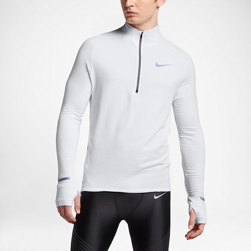 Mens Nike Element Sphere Long Sleeve 1/2 Zip & Hoodies Technical Tops - White L ...