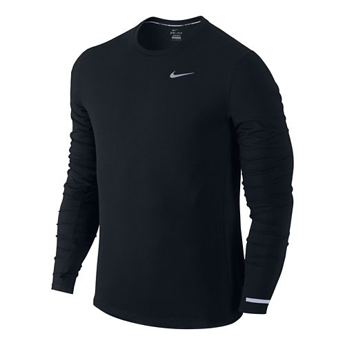 Mens Nike Dri-Fit Contour Long Sleeve No Zip Technical Tops - Black XL