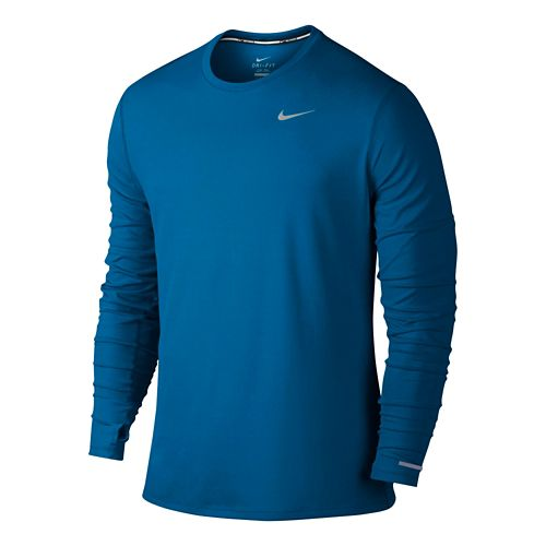 Mens Nike Dri-Fit Contour Long Sleeve No Zip Technical Tops - Imperial Blue L