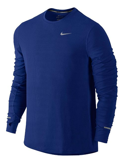 Mens Nike Dri-Fit Contour Long Sleeve No Zip Technical Tops - Deep Royal Blue S