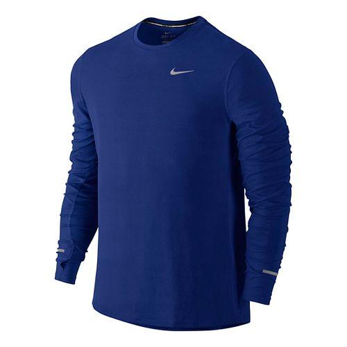 Mens Nike Dri-Fit Contour Long Sleeve No Zip Technical Tops - Deep Royal Blue S ...