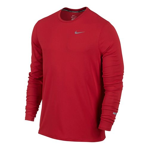 Mens Nike Dri-Fit Contour Long Sleeve No Zip Technical Tops - University Red L