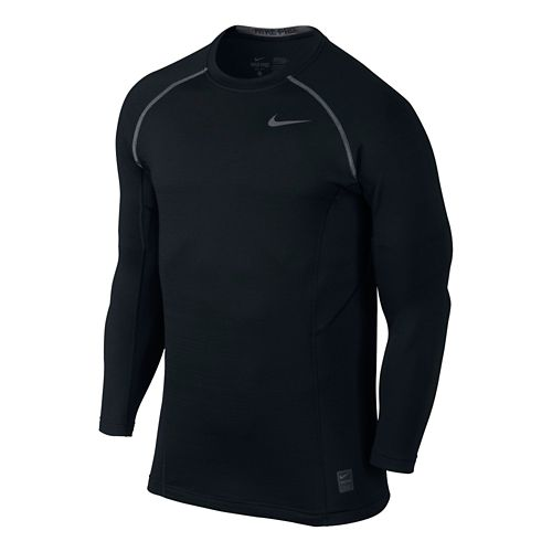 Mens Nike Hyperwarm Max Fitted Long Sleeve No Zip Technical Tops - Black S