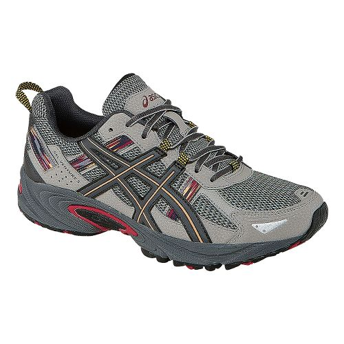 Mens ASICS GEL-Venture 5 Trail Running Shoe - Light Grey/Red 10.5