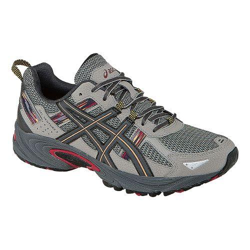 Mens ASICS GEL-Venture 5 Trail Running Shoe - Light Grey/Red 7.5