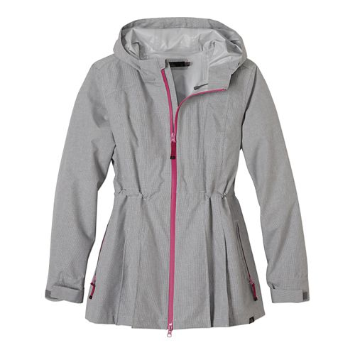 Womens Prana Nova Warm Up Hooded Jackets - Gravel L