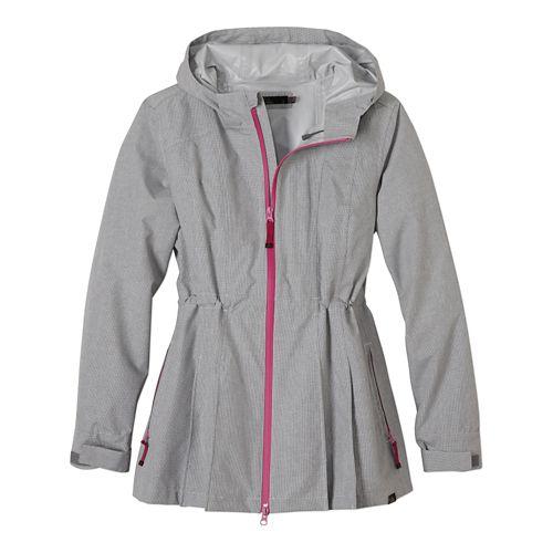 Womens Prana Nova Warm Up Hooded Jackets - Gravel M