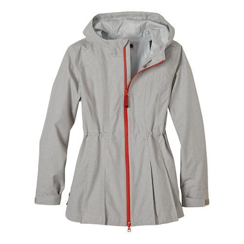 Womens Prana Nova Warm Up Hooded Jackets - Gravel L