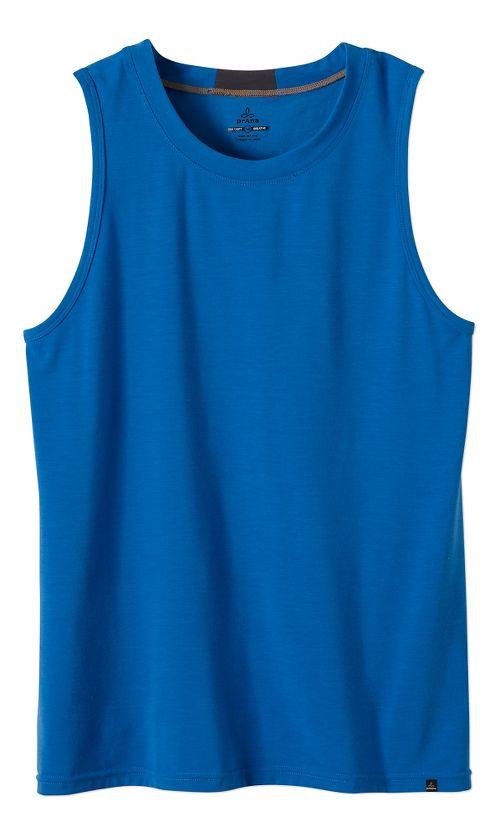Mens prAna Ridge Tech Sleeveless & Tank Technical Tops - Classic Blue L