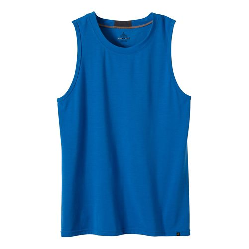 Mens prAna Ridge Tech Sleeveless & Tank Technical Tops - Classic Blue M