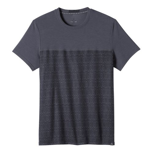 Mens prAna Ridge Tech T Short Sleeve Technical Tops - Coal Ridge Print XL
