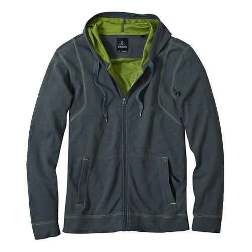 Mens Prana Barringer Warm Up Hooded Jackets - Grey Blue L