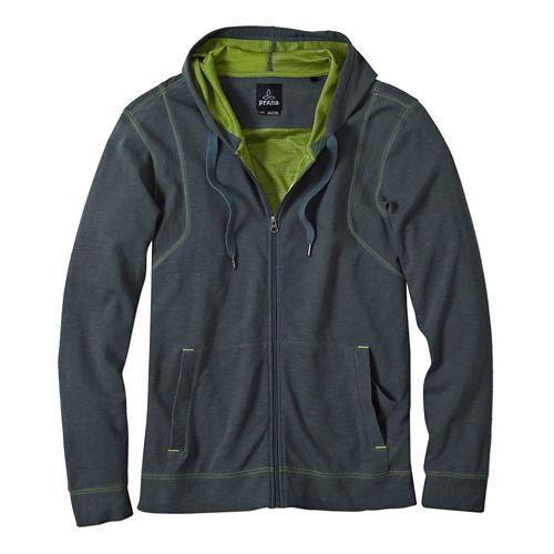 Mens Prana Barringer Warm Up Hooded Jackets - Grey Blue M