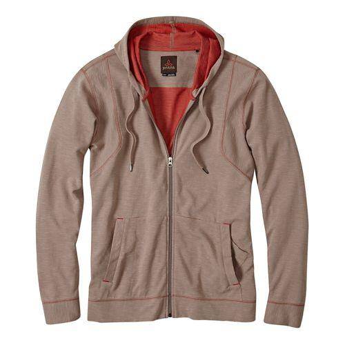 Mens Prana Barringer Warm Up Hooded Jackets - Earth Grey S