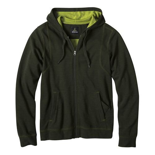 Mens prAna Barringer Half-Zips & Hoodies Non-Technical Tops - Dark Olive S