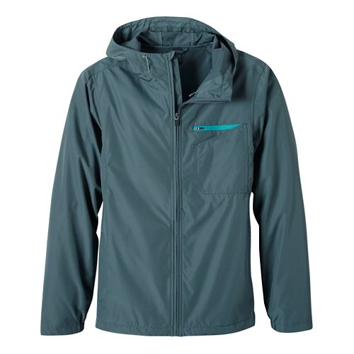 Mens Prana Winn Warm Up Hooded Jackets - Grey Blue L