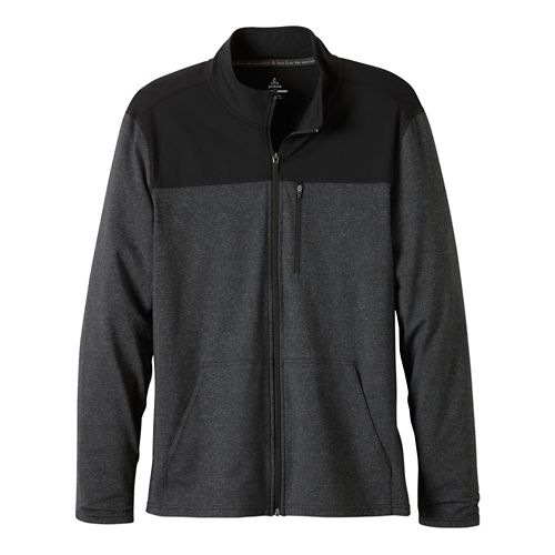 Mens Prana Variable Full Zip Warm Up Unhooded Jackets - Charcoal Heather S