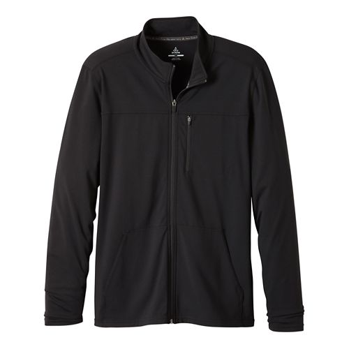 Mens Prana Variable Full Zip Warm Up Unhooded Jackets - Charcoal Heather L