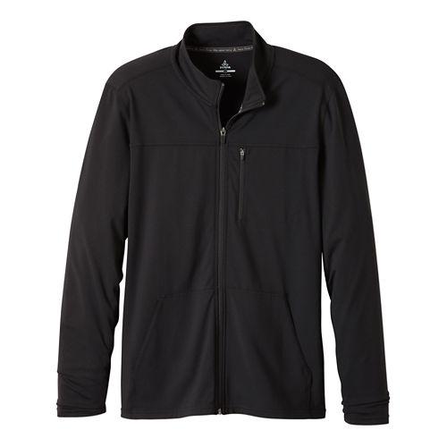 Mens Prana Variable Full Zip Warm Up Unhooded Jackets - Charcoal Heather XXL