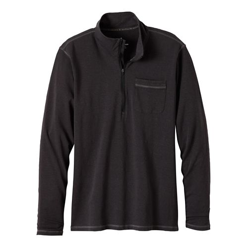 Mens Prana Guthrie 1/4 Zip Long Sleeve Half Zip Technical Tops - Charcoal L