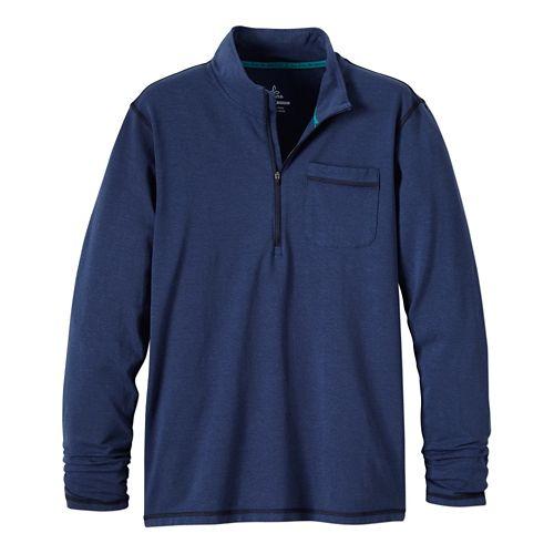 Mens Prana Guthrie 1/4 Zip Long Sleeve Half Zip Technical Tops - Blue Ridge L ...