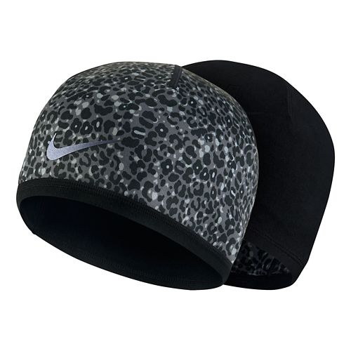 Womens Nike Run Lotus Beanie Headwear - Black/Dark Grey
