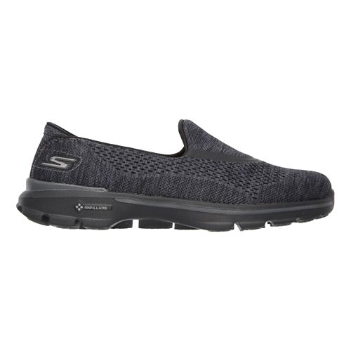 Womens Skechers GO Walk 3 Casual Shoe - Black/Black 11