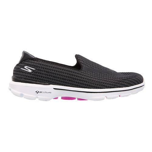Womens Skechers GO Walk 3 Walking Shoe - Black/White 8