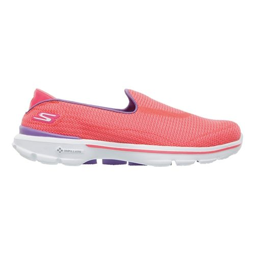 Womens Skechers GO Walk 3 Walking Shoe - Hot Pink/Purple 8.5
