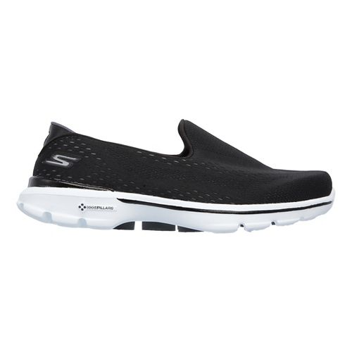 Womens Skechers GO Walk 3 Running Shoe - Black/White 5.5