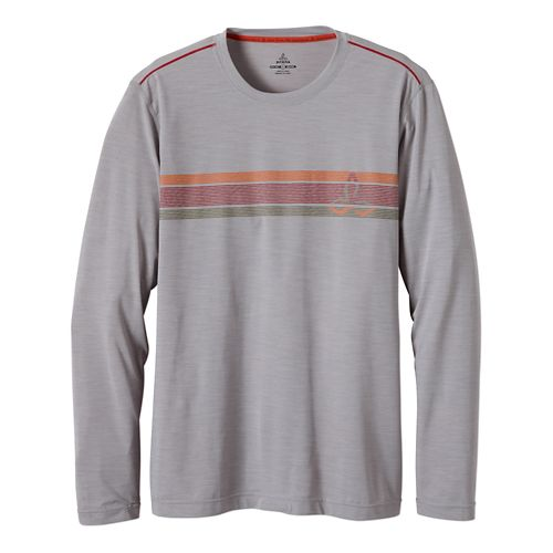 Mens Prana Calder Long Sleeve No Zip Technical Tops - Light Grey S