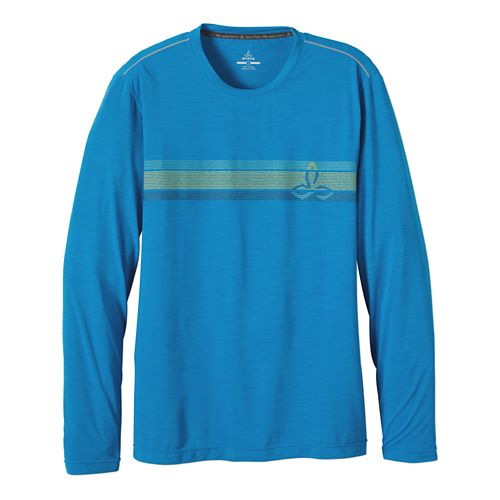 Mens Prana Calder Long Sleeve No Zip Technical Tops - Danube Blue XXL