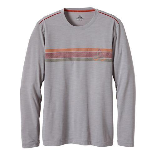 Mens Prana Calder Long Sleeve No Zip Technical Tops - Light Grey M