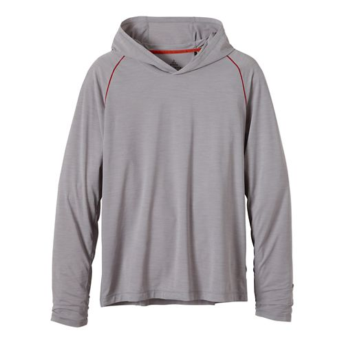 Mens Prana Calder Hoodie Long Sleeve Hooded Technical Tops - Light Grey L