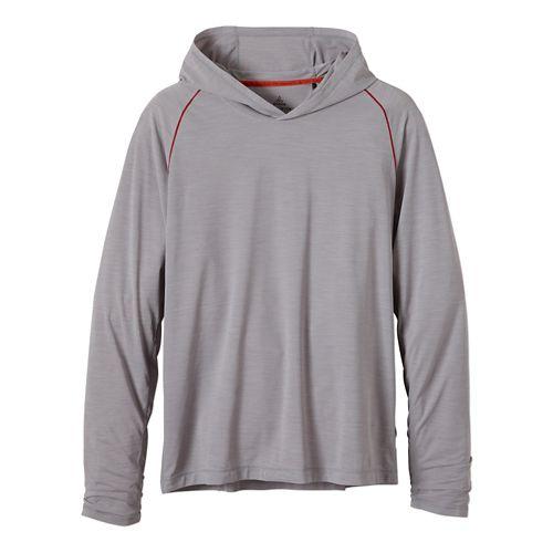 Mens Prana Calder Hoodie Long Sleeve Hooded Technical Tops - Light Grey XL