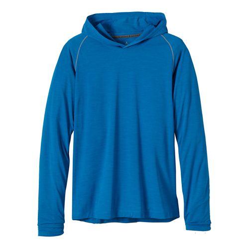 Mens Prana Calder Hoodie Long Sleeve Hooded Technical Tops - Danube Blue M