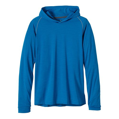 Mens Prana Calder Hoodie Long Sleeve Hooded Technical Tops - Danube Blue XXL
