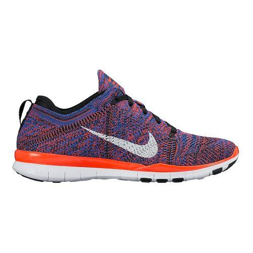 Womens Nike Free TR Flyknit Cross Training Shoe - Bright Crimson/Blue 9