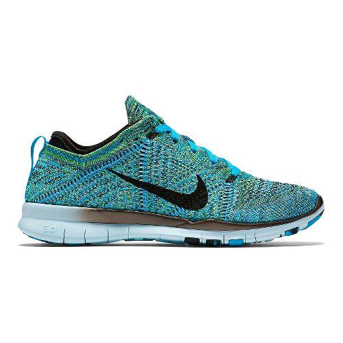 Womens Nike Free TR Flyknit Cross Training Shoe - Blue/Green 10